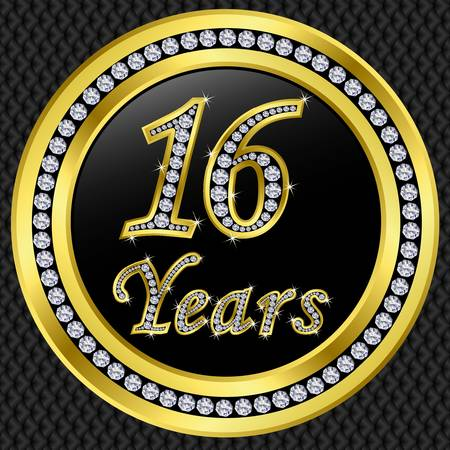 Happy 16 years anniversary, happy birthday golden icon with diamonds, vector illustration  Vector