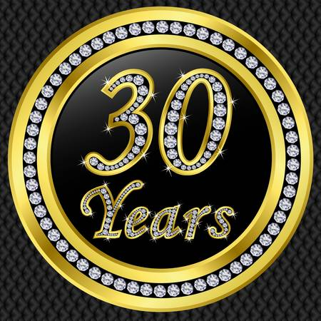 30 years: 30 years anniversary golden happy birthday icon with diamonds, vector illustration  Illustration