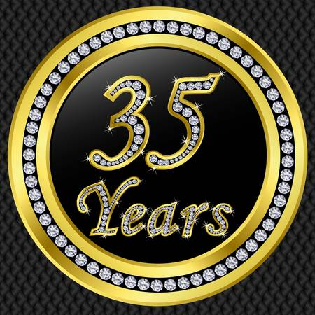 remembered: 35 years anniversary golden happy birthday icon with diamonds, vector illustration