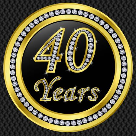 remembered: 40 years anniversary golden happy birthday icon with diamonds, vector illustration
