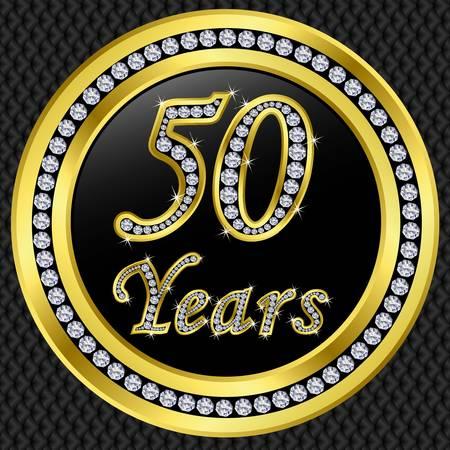 fifty: 50 years anniversary golden happy birthday icon with diamonds, vector illustration  Illustration