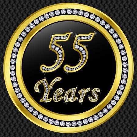 fiftieth: 55 years anniversary golden happy birthday icon with diamonds, vector illustration