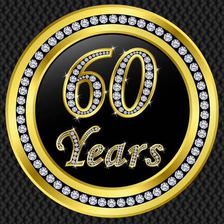 anniversary card: 60 years anniversary golden happy birthday icon with diamonds, vector illustration