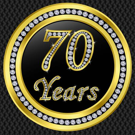 70: 70 years anniversary golden icon with diamonds, vector illustration