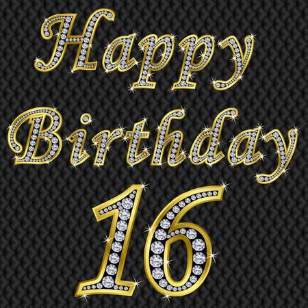 happy 18th birthday: Happy 16 birthday, golden with diamonds, vector illustration Illustration