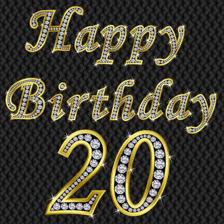 Happy 21 birthday, golden with diamonds, vector illustration Vector