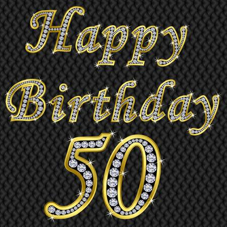 50th: Happy 50 birthday, golden with diamonds, vector illustration