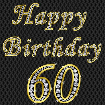 60th: Happy 60 birthday, golden with diamonds, vector illustration