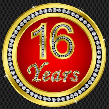 50 to 60 years: 16 years anniversary golden happy birthday icon with diamonds, vector illustration