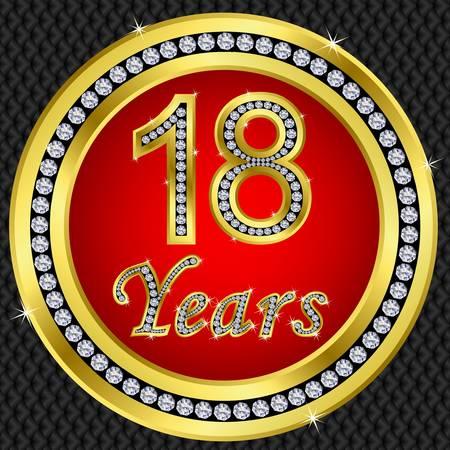 anniversary party: 18 � anniversario buon compleanno icona d'oro con diamanti, illustrazione vettoriale Vettoriali