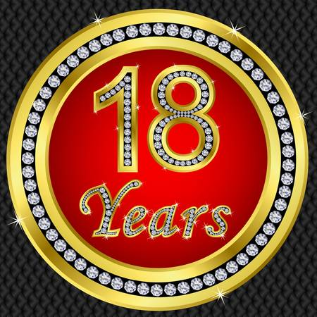 18: 18 years anniversary golden happy birthday icon with diamonds, vector illustration