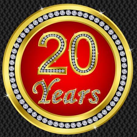 50 to 60 years: 20 years anniversary golden happy birthday icon with diamonds, vector illustration Illustration