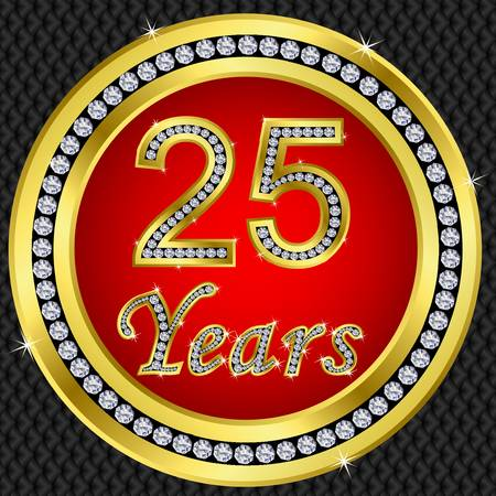 remembered: 25 years anniversary golden happy birthday icon with diamonds, vector illustration Illustration