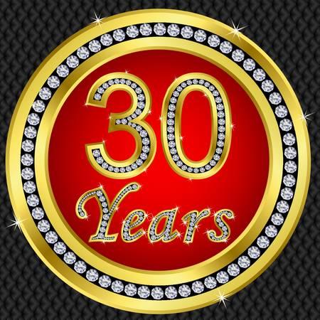diamond letter: 30 � anniversario buon compleanno icona d'oro con diamanti, illustrazione vettoriale