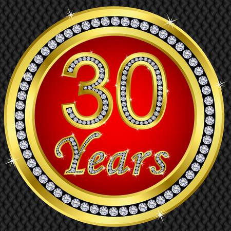 30 years: 30 years anniversary golden happy birthday icon with diamonds, vector illustration