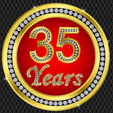 35: 35 a�os bodas de oro icono de feliz cumplea�os con diamantes, ilustraci�n vectorial