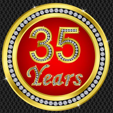 50 to 60 years: 35 years anniversary golden happy birthday icon with diamonds, vector illustration