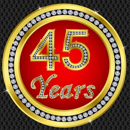 marriage invitation: 45 years anniversary golden happy birthday icon with diamonds, vector illustration