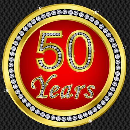 anniversary card: 50 years anniversary golden happy birthday icon with diamonds, vector illustration