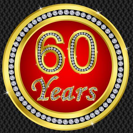 50 to 60: 60 years anniversary golden happy birthday icon with diamonds, vector illustration Illustration