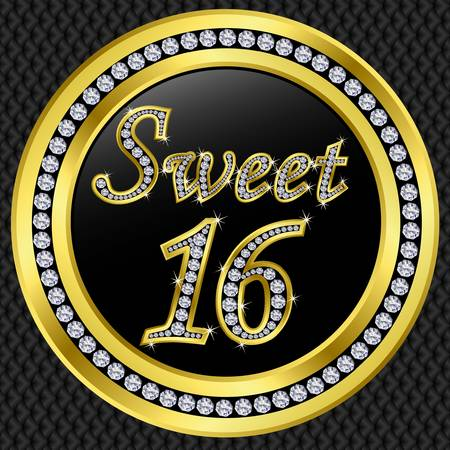 Sweet 16 years anniversary, happy birthday golden icon with diamonds, vector illustration