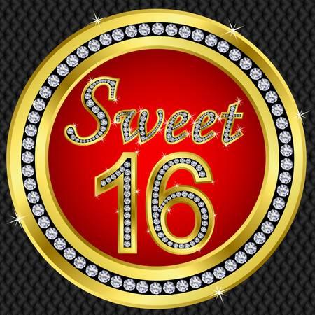 sweet love: Dulce aniversario de 16 a�os, el icono de feliz cumplea�os de oro con diamantes, ilustraci�n vectorial