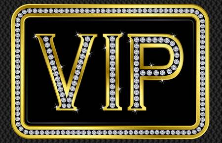 Vip pass card, golden with diamonds, vector illustration Illustration