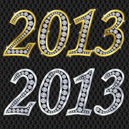 x mas party: New year 2013 golden and silver with diamonds, vector illustration