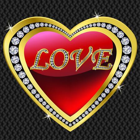 brilliant: Golden heart for Valentine day, vector