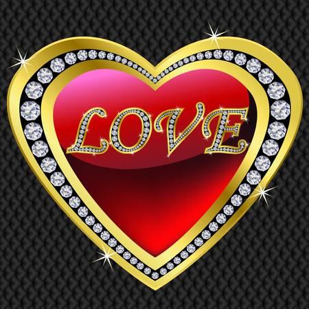 brillant: Goldene Herz f�r Valentinstag, Vektor