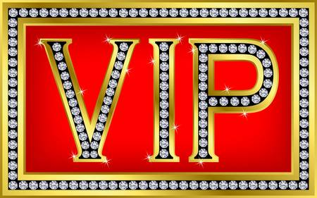 vip symbol: Tarjeta VIP pass, de oro con diamantes