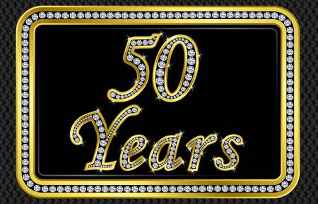 fifty: 50 years anniversary golden card with diamonds, vector illustration