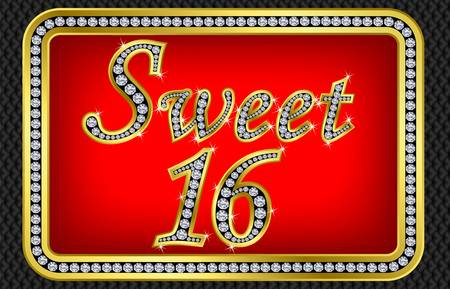 Sweet 16 years anniversary, happy birthday golden card with diamonds, vector illustration