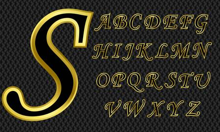 Golden alphabet, letters from A to Z, vector illustration Vector