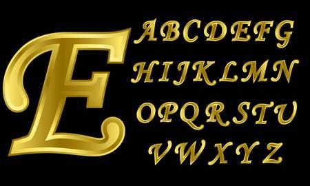 letras de oro: Alfabeto de oro, las letras de la A a la Z, ilustración vectorial