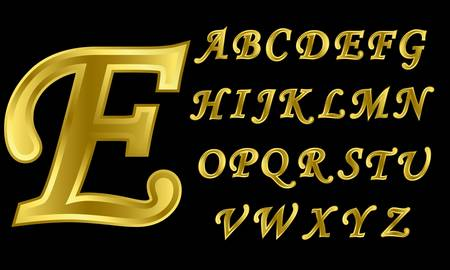Golden alphabet, letters from A to Z, vector illustration Stock Vector - 11938098