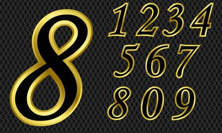 gold letters: Golden number set, from 1 to 9