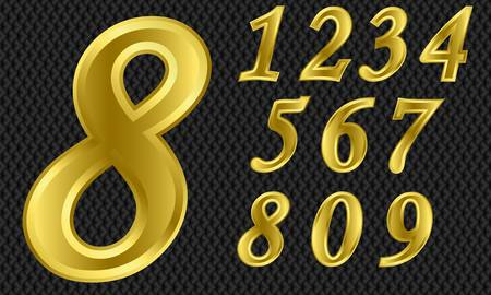 numerals: Golden number set, from 1 to 9