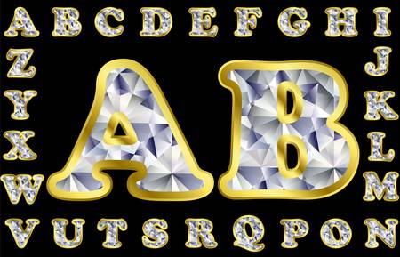 Diamond alphabet with golden frame, vector illustration Vector