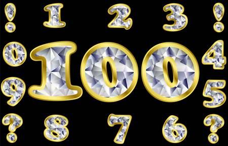 arabic number: Diamond numbers with golden frame, vector illustration