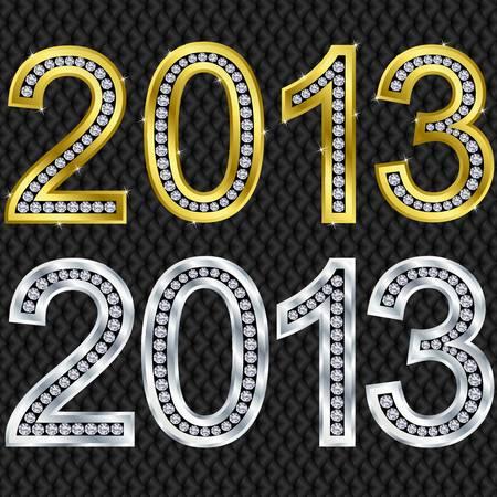 illustratio: New year 2013 golden and silver with diamonds, vector illustratio