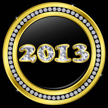 Diamond New year 2013 icon with golden frame, vector  Vector