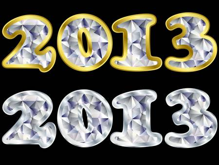 x mas parties: New year 2013 golden and silver with diamonds, vector illustratio
