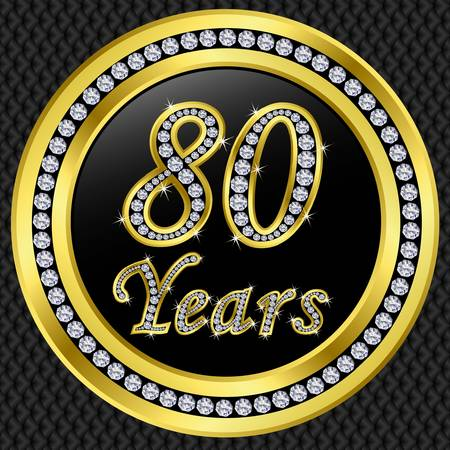 five year: 80 years anniversary golden icon with diamonds, vector illustration