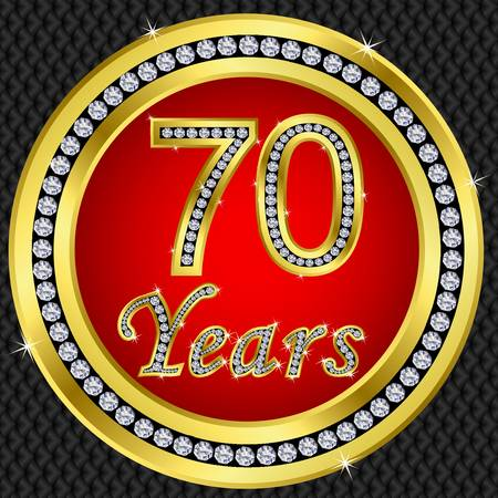 five year:  70 years anniversary golden icon with diamonds, vector illustration Illustration