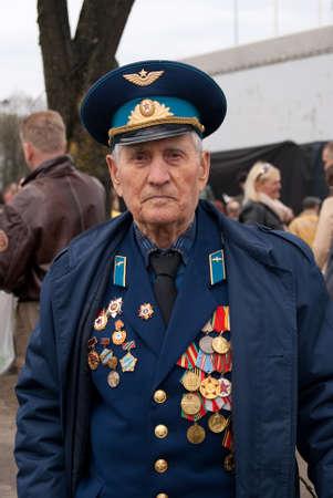RIGA,LATVIA - MAY 9: Russian Veteran of World war II on the parade May 9, 2010 in Riga,Latvia.