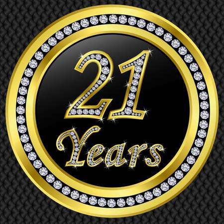21 years anniversary golden card with diamonds illustration Vector