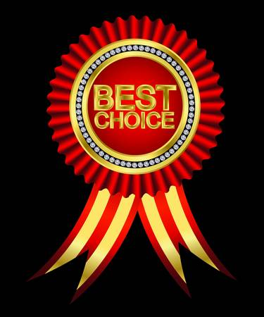 Best choice, golden label with ribbons. Vector