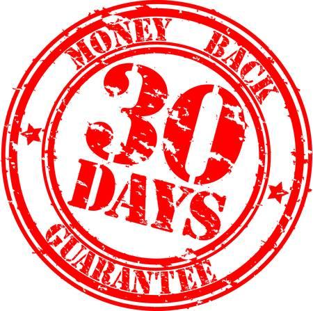 zufriedenheitsgarantie: Grunge 30 Tage Geld-zur�ck-Garantie-Stempel, illustration