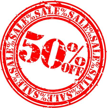 off:  Grunge 50 percent sale off rubber stamp, illustration Illustration